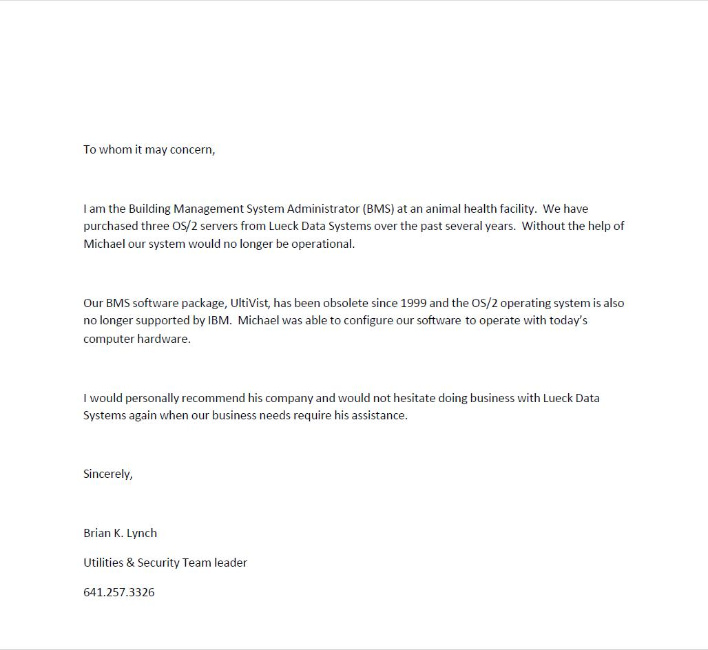 view reference letter reference letter from brian lynch lueck data systems